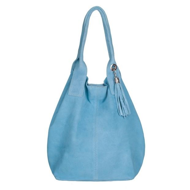 Włoska torebka worek A4 z frędzlami zamsz błękitna (4404)
