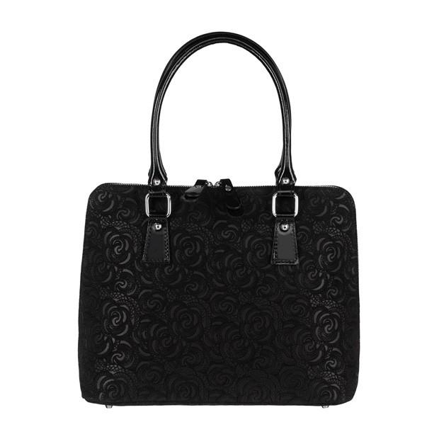 Włoska klasyczna torebka skórzana tłoczone kwiaty czarna (3449)