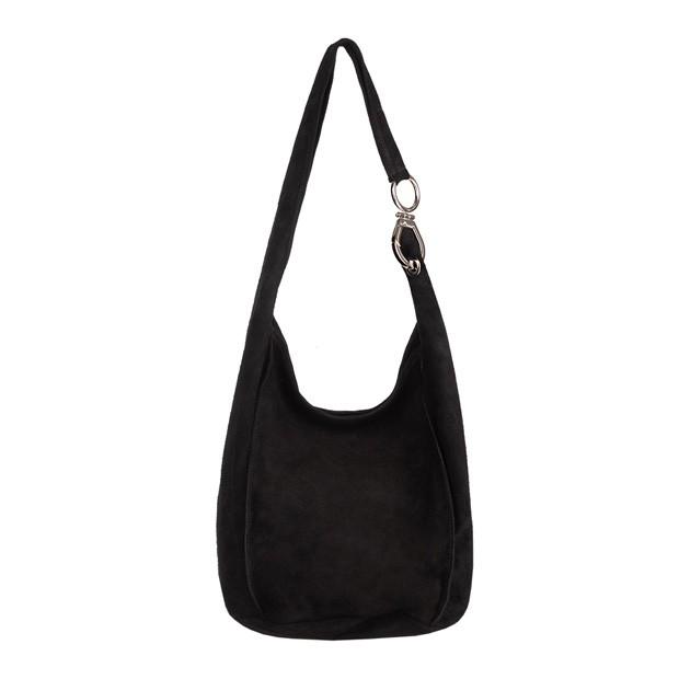 Włoska zamszowa torebka worek czarna (4483)