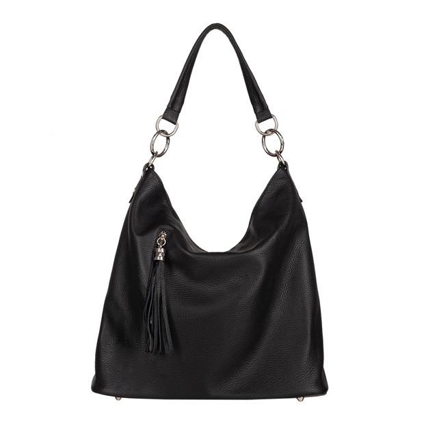 Włoska skórzana torebka worek z frędzlami czarna (4490)
