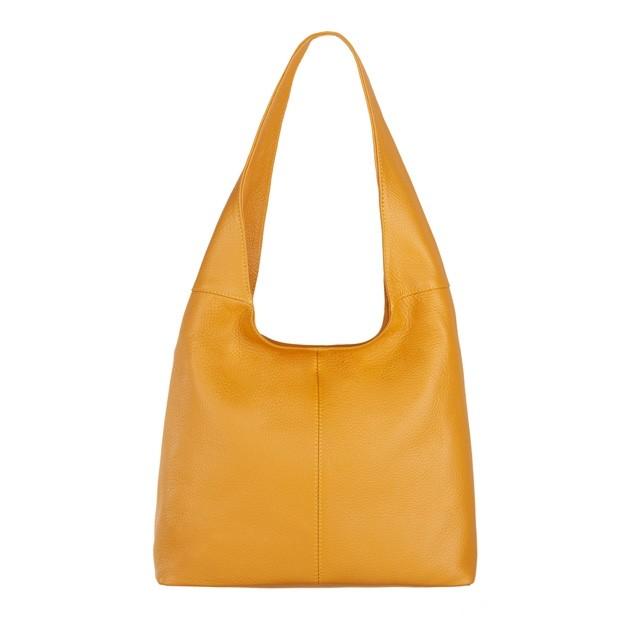 Włoska skórzana torebka worek żółta (4504)
