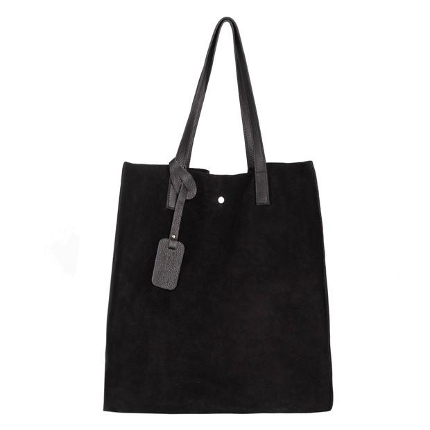 Włoska torebka worek zamsz A4 czarna (4508)