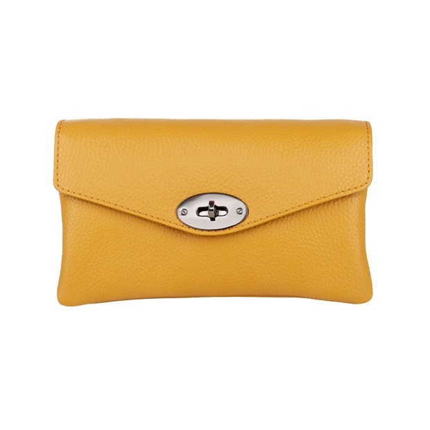 Włoska skórzana dwukomorowa kopertówka żółta (4524)