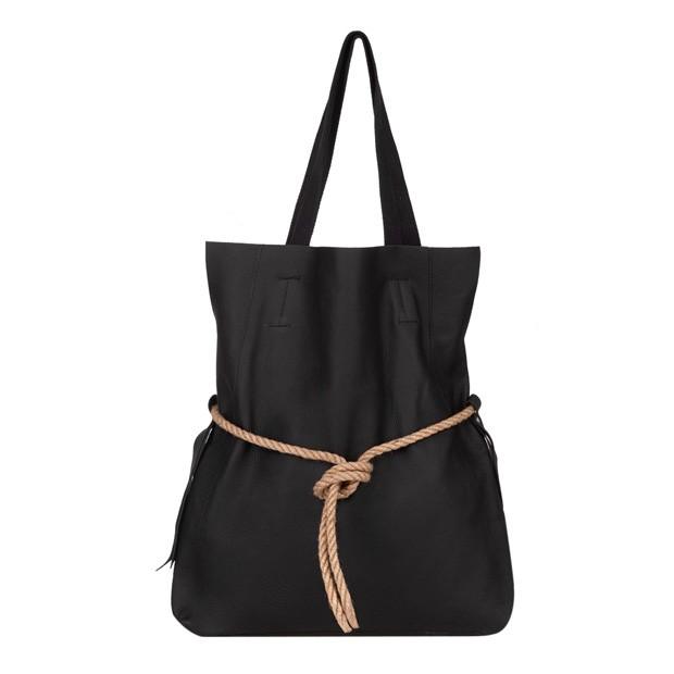 Skórzana torebka worek A4 czarna (4535)