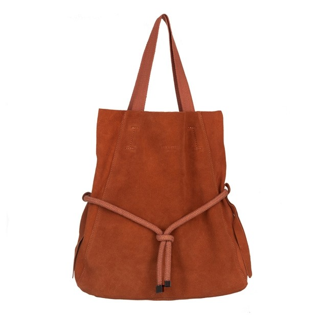 Vera Pelle - Włoska zamszowa torebka worek A4 camel (4545)