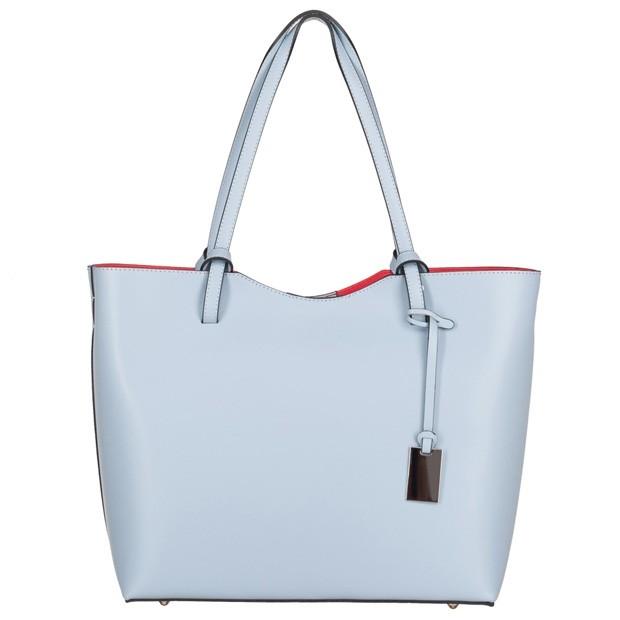 Włoska klasyczna torebka A4 matowa skóra błękitna (4549)
