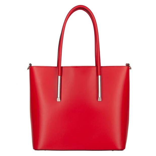 Włoska klasyczna torebka matowa skóra czerwona (4553)