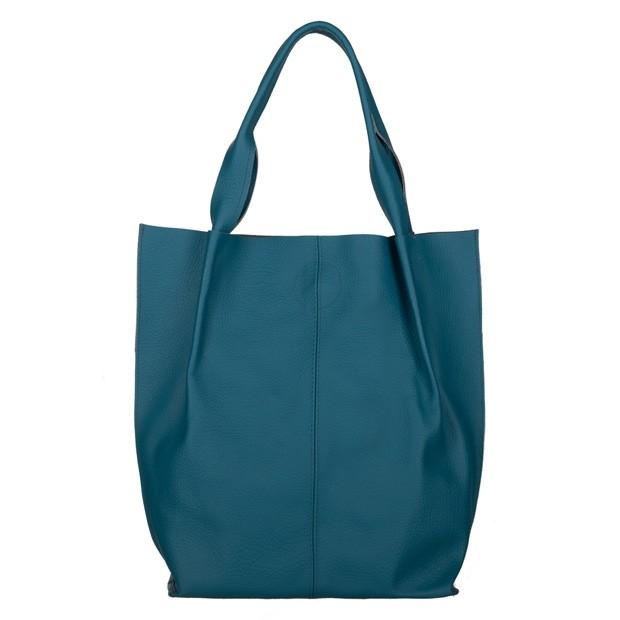 Skórzana torebka worek A4 miękka skóra turkusowa (4565)