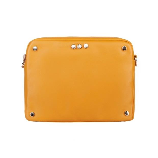 Włoska skórzana torebka listonoszka z dżetami żółta (4573)