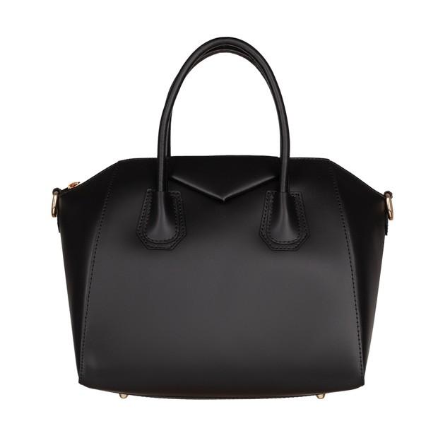 Włoska elegancka torebka kuferek złote okucia matowa skóra czarna (4577)