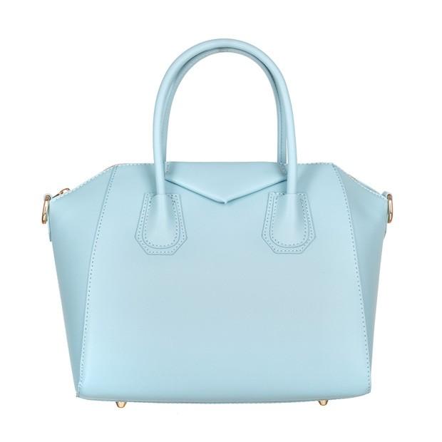Włoska elegancka torebka kuferek złote okucia matowa skóra błękitna (4578)