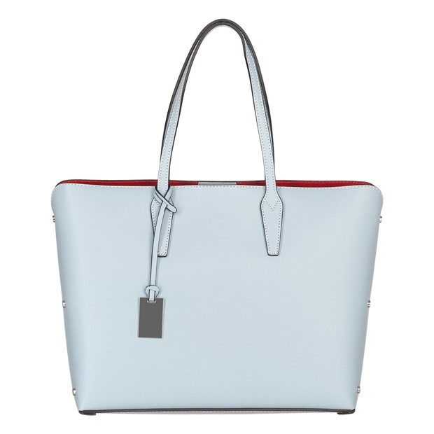Włoska klasyczna torebka skórzana błękitna (4579)