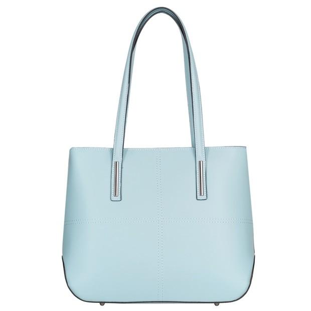 Włoska klasyczna torebka matowa skóra błękitna (4580)