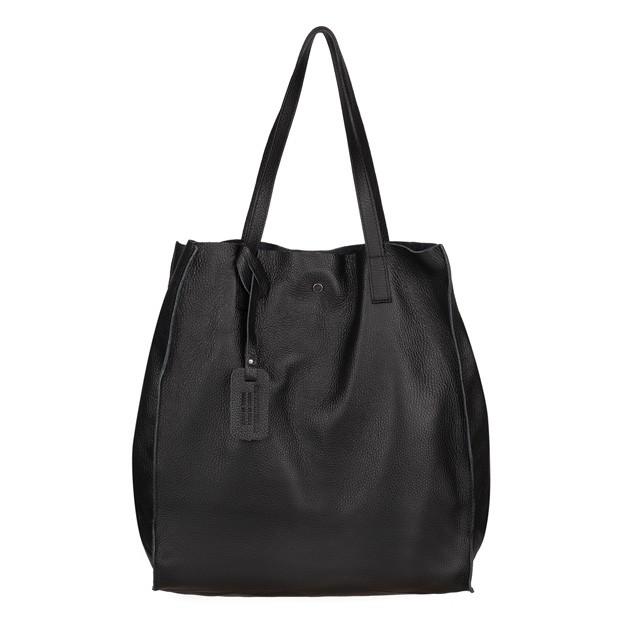 Włoska torebka worek A4 skóra dolaro czarna (4583)