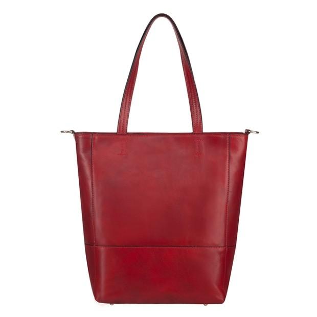 Włoska duża skórzana torebka shopper bag A4 bordowa (4592)