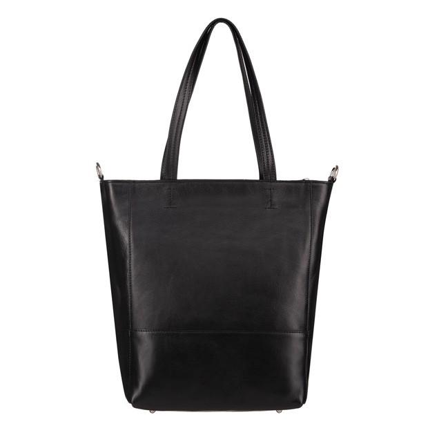 Włoska duża skórzana torebka shopper bag A4 czarna (4593)