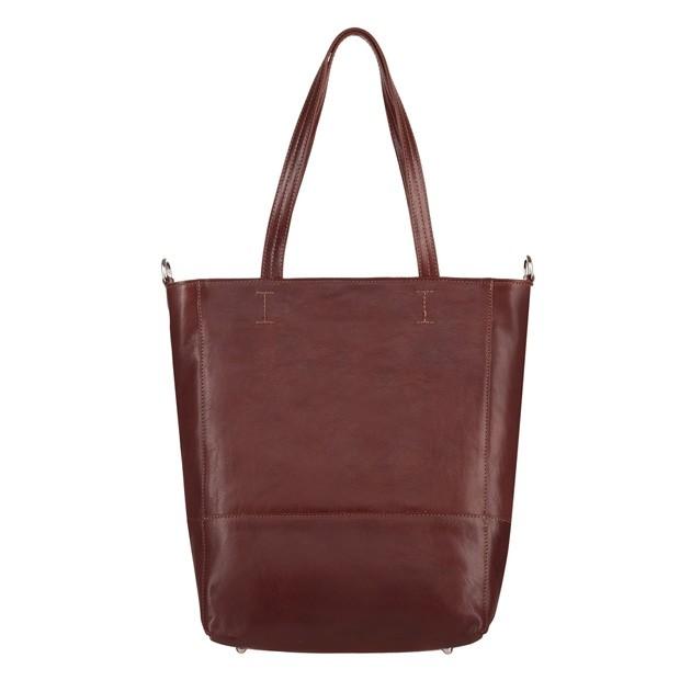 Włoska duża skórzana torebka shopper bag A4 brązowa (4595)
