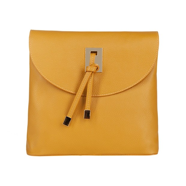 Włoska duża torebka listonoszka skóra dolaro żółta (4612)
