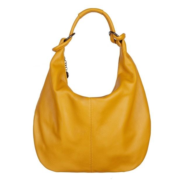 Włoska skórzana torebka worek żółta (4623)