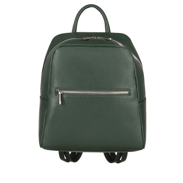 Włoski skórzany plecak srebrne zamki zielona (4658)