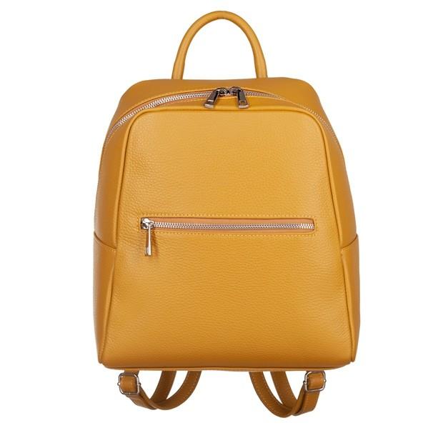 Włoski skórzany plecak srebrne zamki żółta (4659)