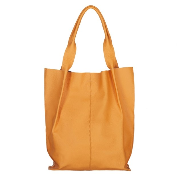 Skórzana torebka worek A4 miękka skóra żółta (4661)