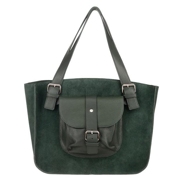 Włoska duża torebka shopper bag A4 zamsz+skóra zielona (4662)