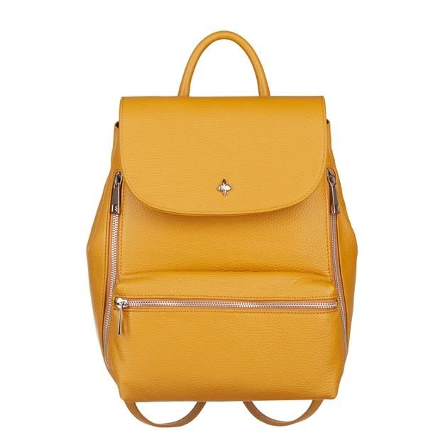 Włoski stylowy skórzany plecak srebrne zamki żółty (4672)