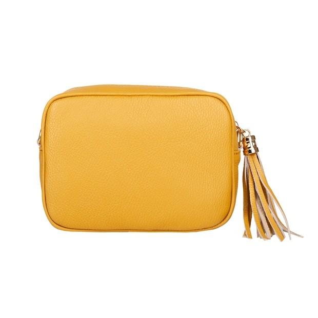 Włoska mała skórzana torebka listonoszka z frędzlami żółta (4711)