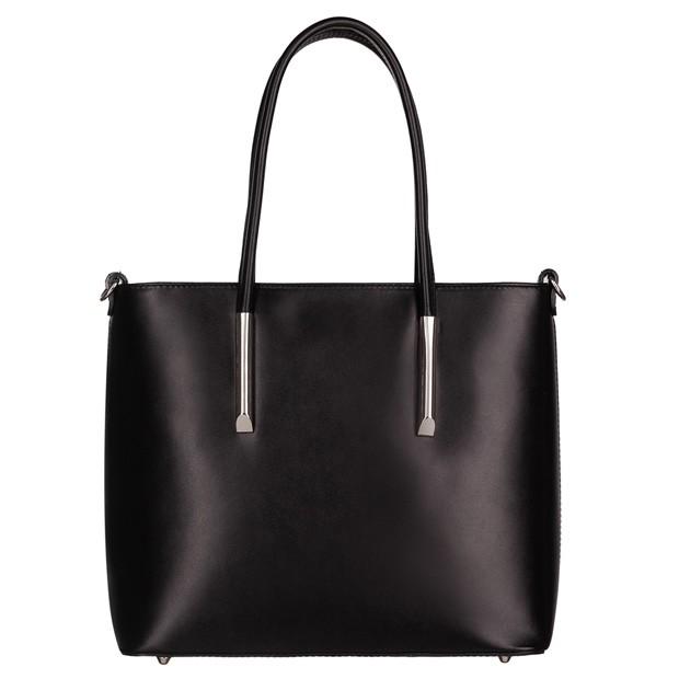 Włoska klasyczna torebka skórzana czarna (4728)