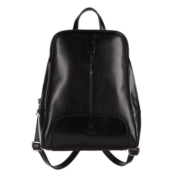 Włoski skórzany plecak czarny (4732)