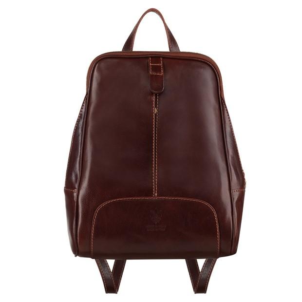 Włoski skórzany plecak ciemny brąz (4734)