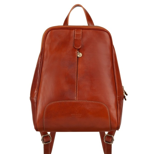 Włoski skórzany plecak jasny brąz (4735)