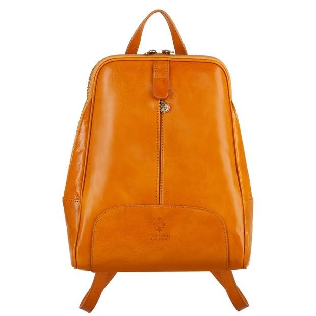 Włoski skórzany plecak żółty (4737)