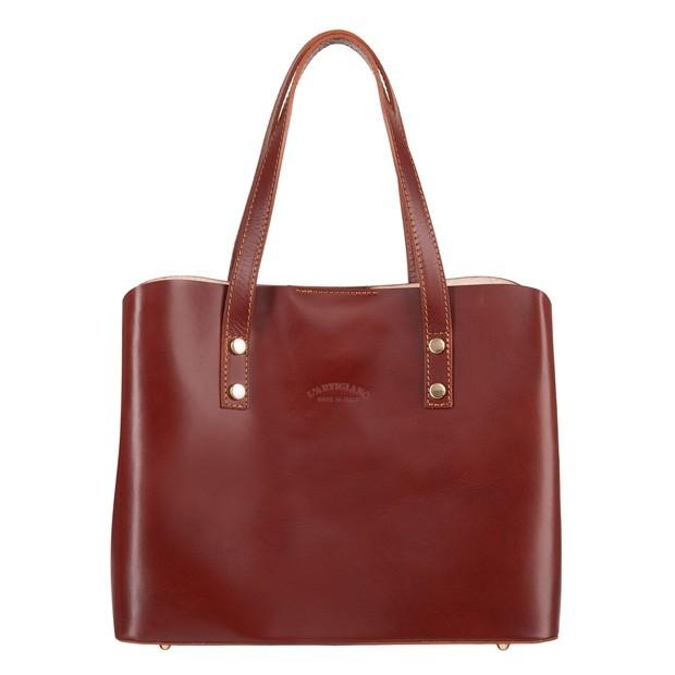 Włoska elegancka torebka skórzana kuferek trzykomorowy brązowy (4740)