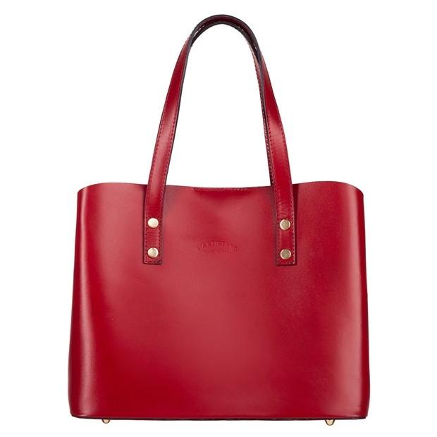 Włoska elegancka torebka skórzana kuferek trzykomorowy czerwony (4741)
