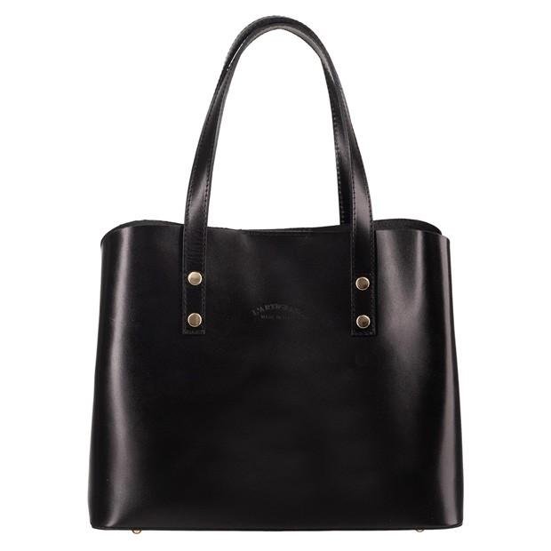Włoska elegancka torebka skórzana kuferek trzykomorowy czarny (4742)