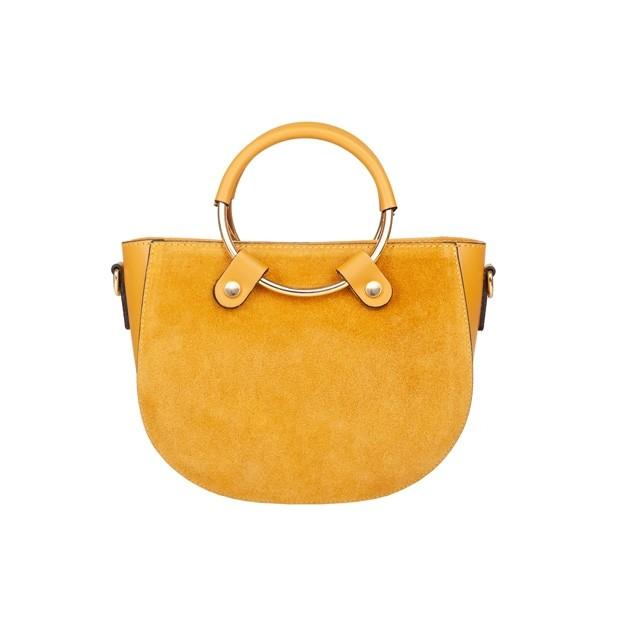 Włoska torebka ze złotymi okuciami skóra matowa+zamsz żółta (4754)