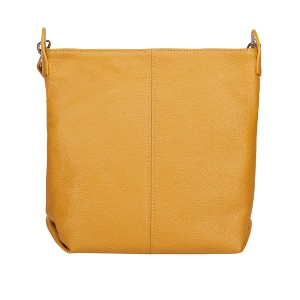 Włoska duża torebka listonoszka skóra dolaro żółta (4776)