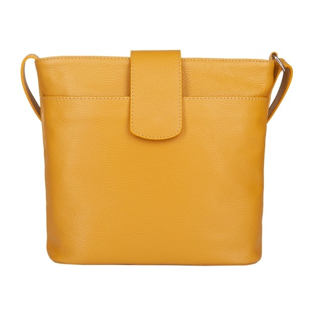 Włoska duża torebka listonoszka skóra dolaro żółta (4780)