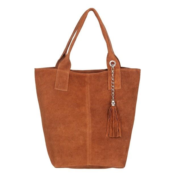 Włoska torebka worek A4 z frędzlami zamsz camel (4792)
