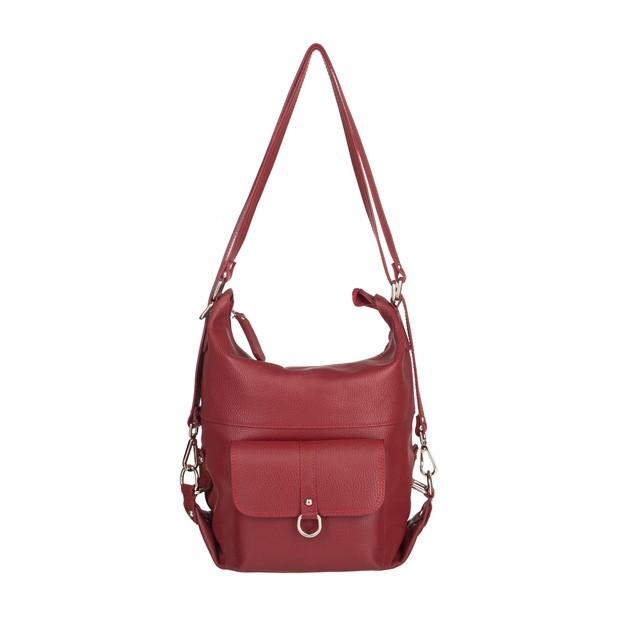 Włoska skórzana torebka - plecak 2w1 czerwona (4799)