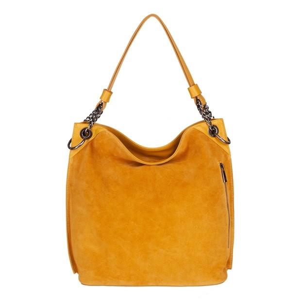 Włoska torebka worek zamsz+skóra żółta (4816)