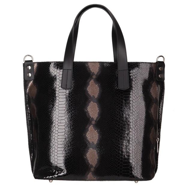 Vera Pelle - Włoska duża klasyczna torebka A4 skóra wężowa czarna (4820)
