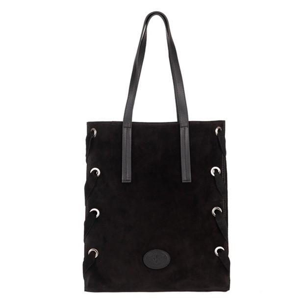 Włoska duża torebka A4 zamsz naturalny czarna (4822)