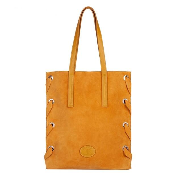 Włoska duża torebka A4 zamsz naturalny żółta (4827)