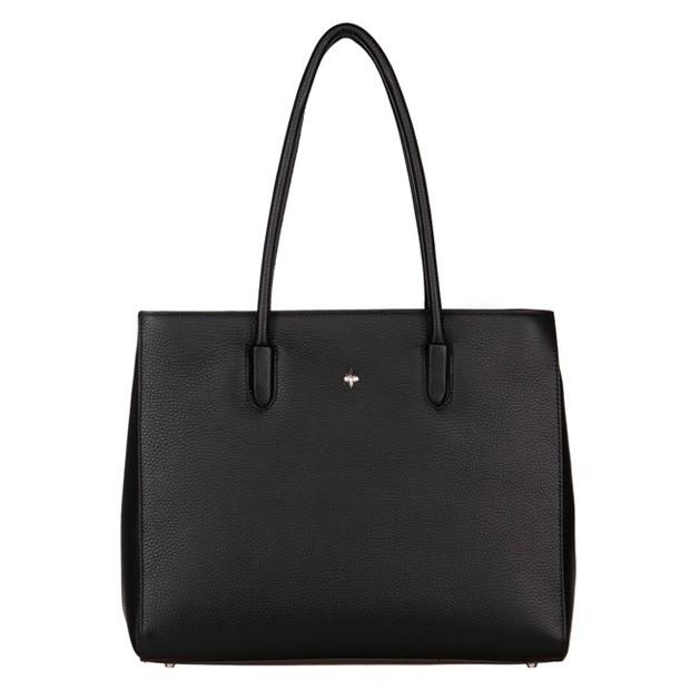 Włoska torebka kuferek skóra dolaro czarna (4828)