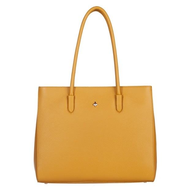 Włoska torebka kuferek skóra dolaro żółta (4832)