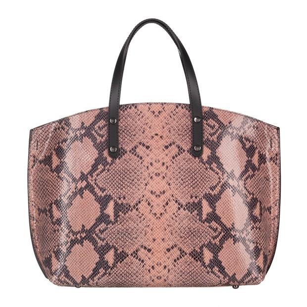 Włoska duża torebka matowa skóra+skóra wężowa różowa (4842)