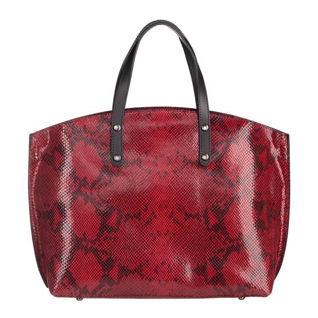 Włoska duża torebka matowa skóra+skóra wężowa czerwona (4843)